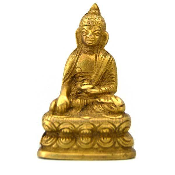 bouddha assis figurine laiton