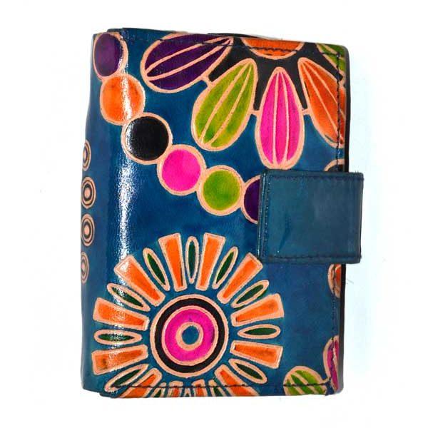 porte carte et portefeuille cuir bleu a motifs