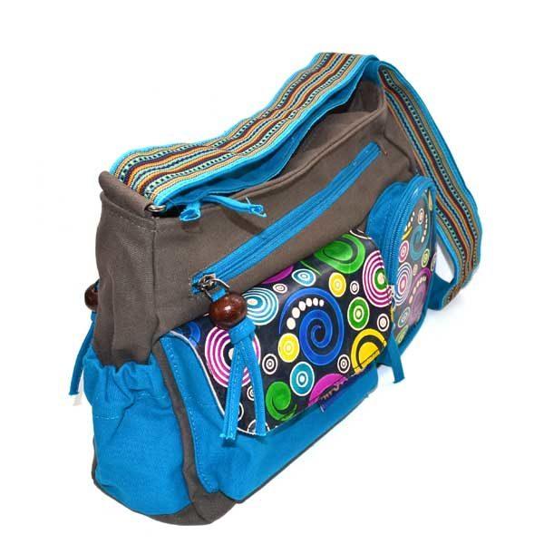 sac a bandouliere en coton avec piéces en cuir