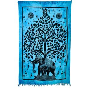 tenture avec arbre de vie et elephant bleu