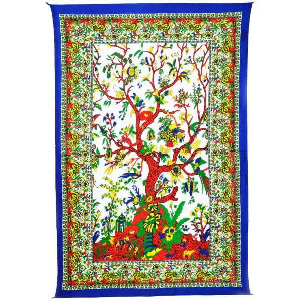 tenture coton colorée et arbre de vie
