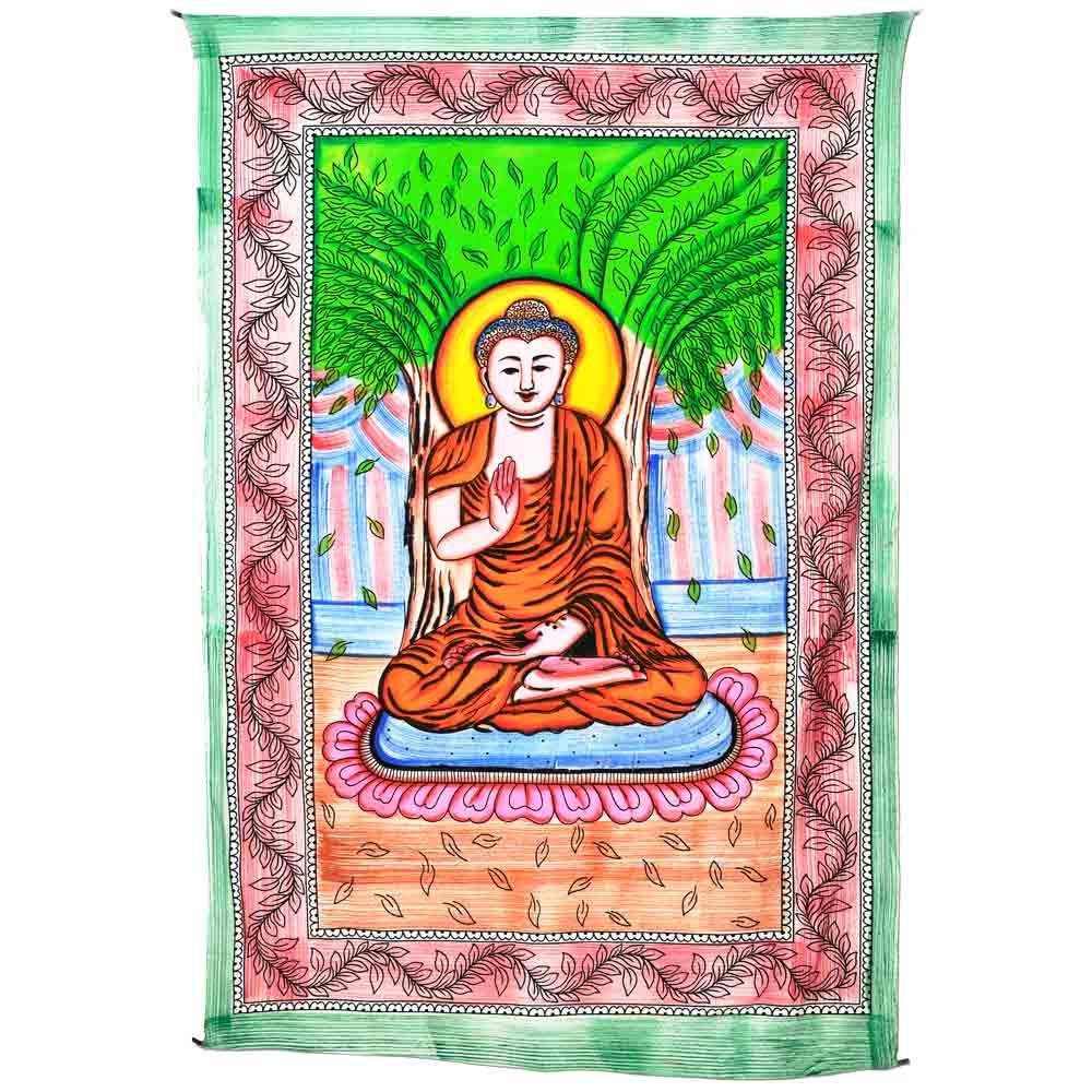 tenture en coton avec Bouddha assis main levée