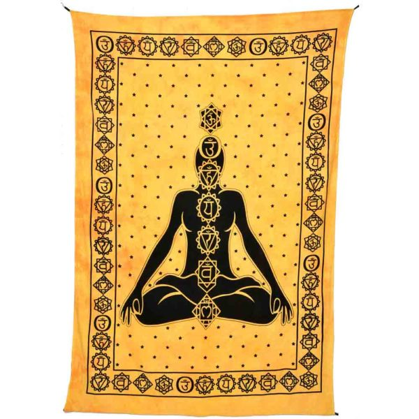Tenture avec bouddha et les 7 chakra